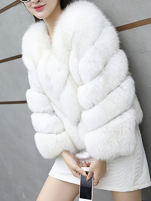 Casual Long Sleeve Shift Crew Neck Fur and Shearling Coat_2
