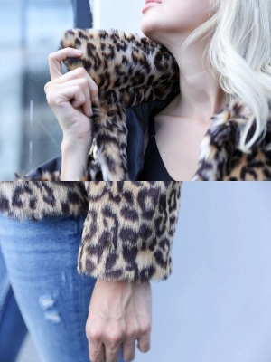 Brown Leopard Print Casual Fur And Shearling Coats_6