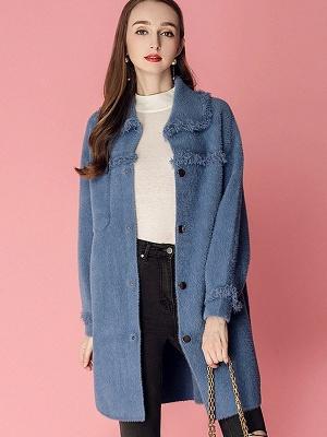 Sweet Raglan Sleeve Buttoned Fur And Shearling Coats_3