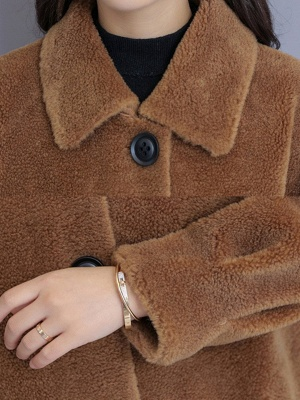 Solid Pockets Long Sleeve Casual Fur And Shearling Coats_12