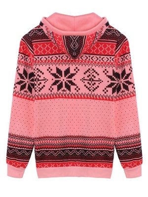 Ethnic Style Snowflakes Printed Thick Fleece Hoodies Casual Hooded Christmas Clothing for Women_10