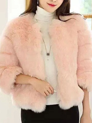 Casual 3/4 Sleeve Solid Fluffy  And Shearling Coat_1