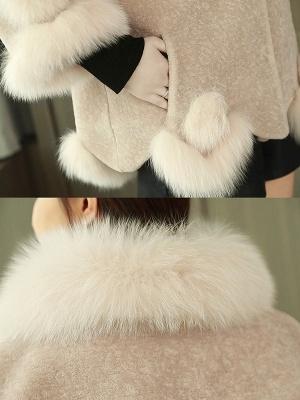 Paneled Shawl Collar Long Sleeve Fur And Shearling Coats_9