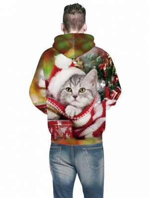 Plus Size Couple Hoodies Fashion Ugly Christmas Cat Printed Hooded Clothes for Women/Men_7