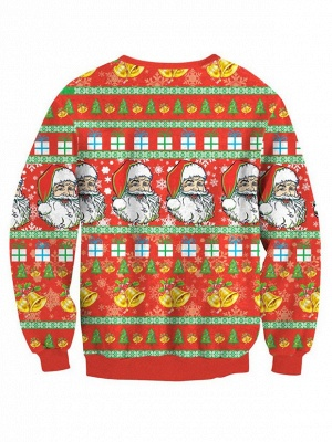 Orange Santa Claus Printed Long Sleeves Cute Christmas Sweatshirts for Women_3