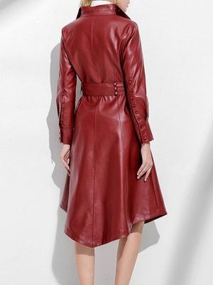 Leather Work Bow Long Sleeve Asymmetrical Coat_4