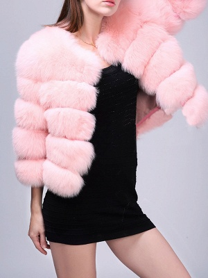 Shift 3/4 Sleeve Fluffy  Fur and Shearling Coat_9