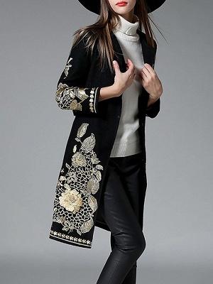 Black Long Sleeve V-Neck Floral-embroidered Coat_7