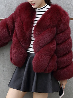 Casual Long Sleeve Shift Crew Neck Fur and Shearling Coat_3