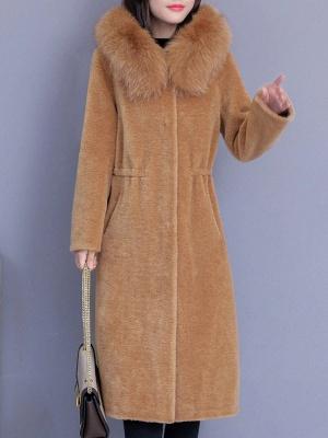 Hoodie Shift Pockets Long Sleeve Fur And Shearling Coats_5
