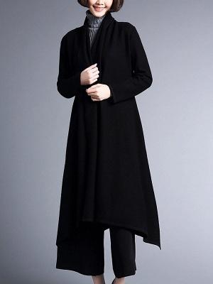 Shawl Collar Casual Long Sleeve Coat_1