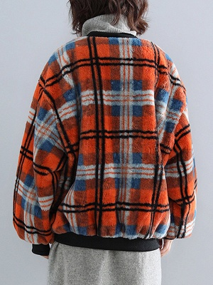 Long Sleeve Checkered/plaid Fur And Shearling Coats_4