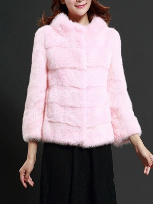 Pink Solid Stand Collar Buttoned Fluffy  Fur and Shearling Coat_1