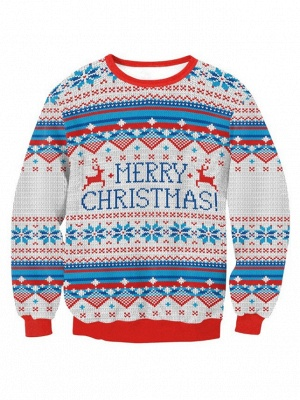 Merry Christmas Snowflake Printed Long Sleeves Ugly Jumpers Sweaters for Women_2