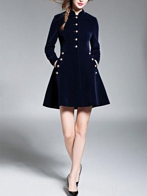 Navy Blue Elegant Stand Collar Velvet Coat_4