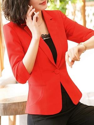 3/4 Sleeve Casual V neck Polyester Pockets Coat_1