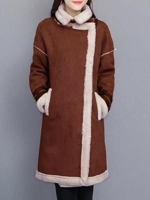 Paneled Long Sleeve Shift Fur And Shearling Coats_6