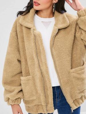 Camel Pockets Zipper Fur and Shearling Coat_6