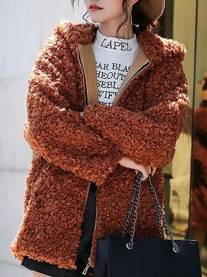 Pockets Hoodie Zipper Fur And Shearling Coats_2