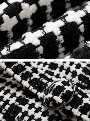 Black Casual Checkered/Plaid Coat_7