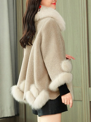 Buttoned Fluffy Shift Paneled Fur And Shearling Coats_12