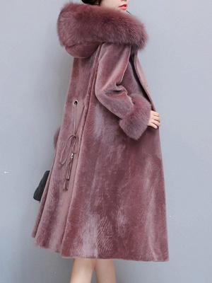 Casual Long Sleeve Hoodie Fur and Shearling Coat_5