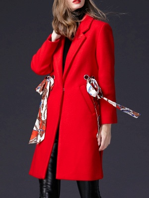 Red Casual Buttoned Lapel Coat_4