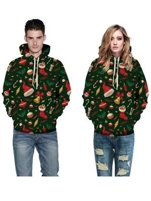 Plus Size Couple Hoodies Green Ugly Christmas Printed Hooded Baseball Clothes for Men/Women_4