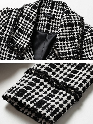 Black Casual Checkered/Plaid Coat_6