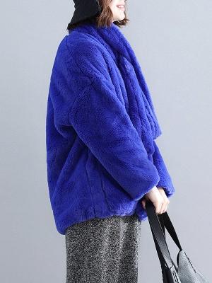 Solid Long Sleeve Pockets Fluffy Fur And Shearling Coats_15