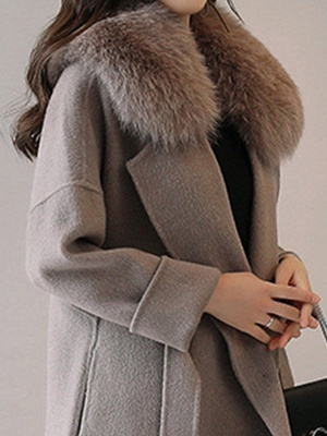 Gray Elegant A-Line Hoodie Fur And Shearling Coats_5