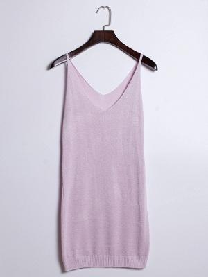 Sleeveless Deep V-neck Silver Wire Knit Harness Vest Tank Top_12