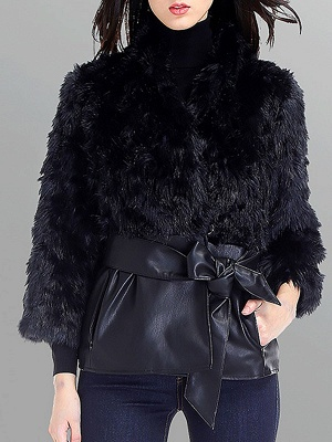 Black Casual Paneled Faux Fur Solid Fur and Shearling Coat_1