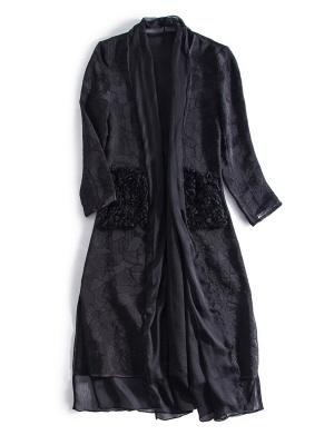 Black Long Sleeve Abstract Casual Coat_6