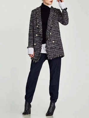 Royal blue Shift Shawl Collar Checkered/Plaid Coat_4