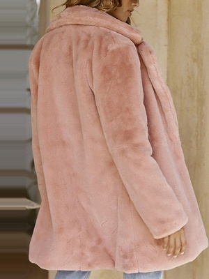 Pink Long Sleeve Casual Fur And Shearling Coats - StyleWe.com_5