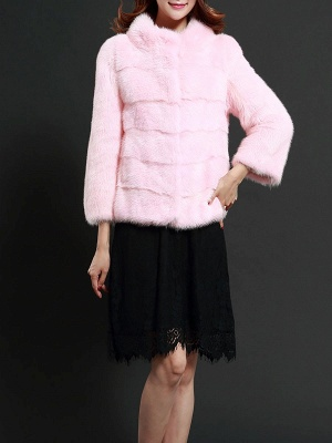 Pink Solid Stand Collar Buttoned Fluffy  Fur and Shearling Coat_4