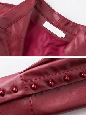 Leather Work Bow Long Sleeve Asymmetrical Coat_7