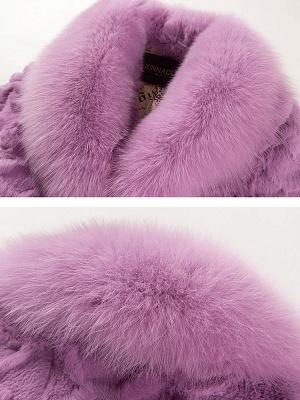 Casual Shawl Collar Beaded Shift Long Sleeve Fur and Shearling Coat_7