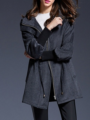 Gray Raglan Sleeve Paneled Coat_8