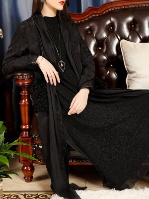 Black Long Sleeve Abstract Casual Coat_5