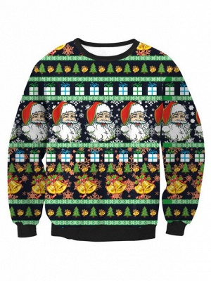 Black Santa Claus Printed Long Sleeves Cute Christmas Sweatshirts for Women_2