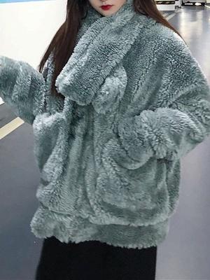 Long Sleeve Pockets Casual Fur And Shearling Coats_4