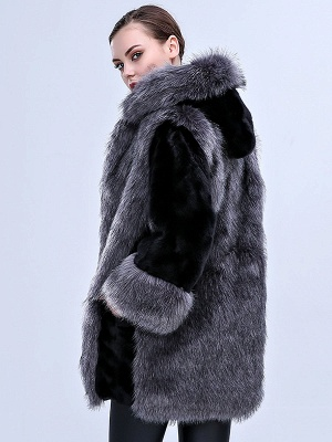 Gray Fluffy Hoodie Solid Fur And Shearling Coats_3