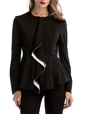 Black Long Sleeve Zipper Casual Flounce Crew Neck Coat_7