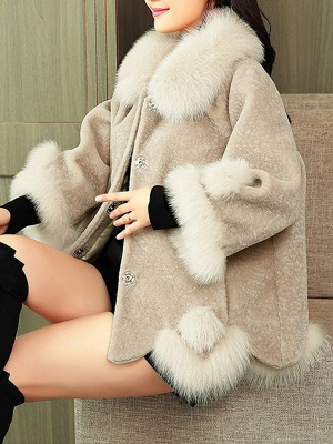 Buttoned Fluffy Shift Paneled Fur And Shearling Coats_1