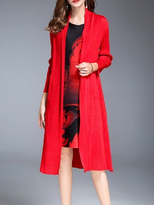 Red Shift Pockets Long Sleeve Coat_6
