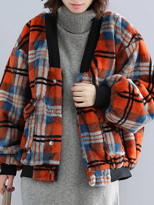 Long Sleeve Checkered/plaid Fur And Shearling Coats_10