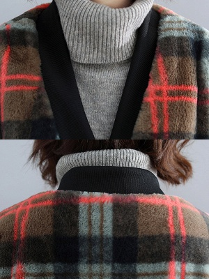 Long Sleeve Checkered/plaid Fur And Shearling Coats_7