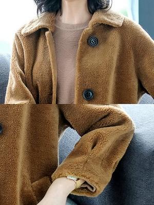 Brown Shawl Collar Casual Fur And Shearling Coats_6